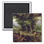 Earth or The Earthly Paradise, 1607-08 (oil on cop 2 Inch Square Magnet