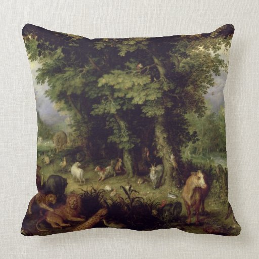 Earth or The Earthly Paradise, 1607-08 (oil on cop Pillow