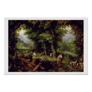 Earth or The Earthly Paradise, 1607-08 (oil on cop Poster