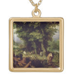 Earth or The Earthly Paradise, 1607-08 (oil on cop Square Pendant Necklace