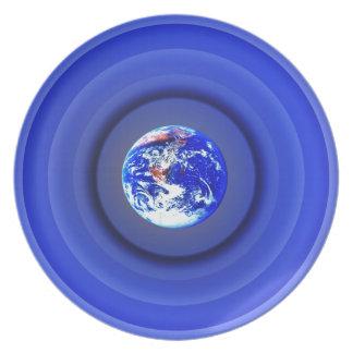 Earth Orbits Melamine Plate