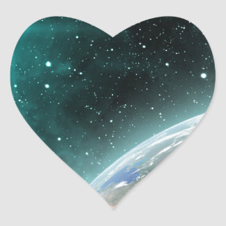 Earth Outer Space Heart Sticker