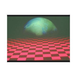 Earth over Checker. (earth_Space Scenes Canvas Print