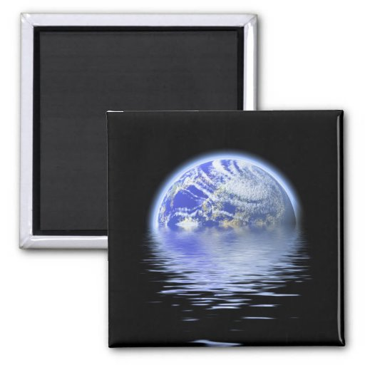 Earth Over Flooded Water Ripples 2 Inch Square Magnet