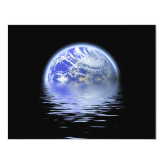 Earth Over Flooded Water Ripples Card