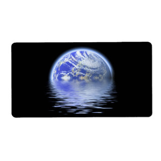 Earth Over Flooded Water Ripples Shipping Label
