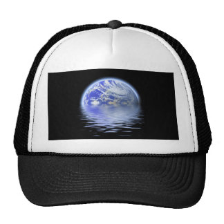 Earth Over Flooded Water Ripples Trucker Hat