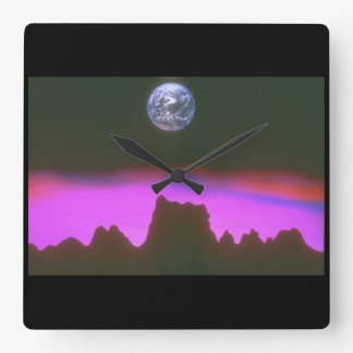 Earth over Mountains. (earth_Space Scenes Square Wall Clock
