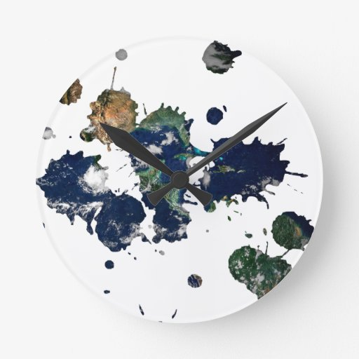 Earth Paint Round Clock
