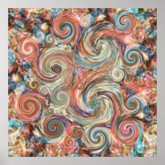 Earth Pastel Swirls Colorful Print