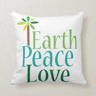 Earth Peace Love Throw Pillow