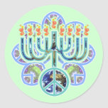 Earth Peace Menorah Stickers