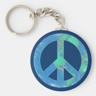 Earth Peace Sign Keychain