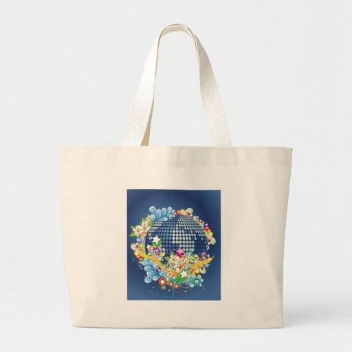 Earth ~ Planet Earth Flowers & Scrolls Canvas Bag