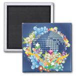 Earth ~ Planet Earth Flowers & Scrolls Refrigerator Magnet