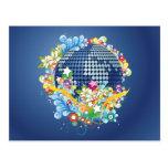 Earth ~ Planet Earth Flowers & Scrolls Postcard