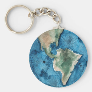 Earth Planet Watercolor Keychain