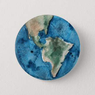 Earth Planet Watercolor Round Button