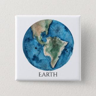 Earth Planet Watercolor Square Magnet Button