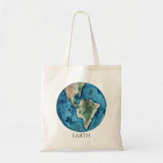 Earth Planet Watercolor Tote