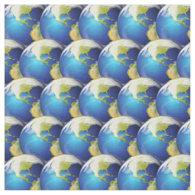 Earth Planet World Abstract Design Fabric