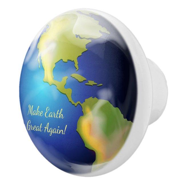 Earth Planet World Design Ceramic Knob