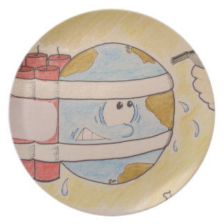 EARTH POLLUTION MELAMINE PLATE