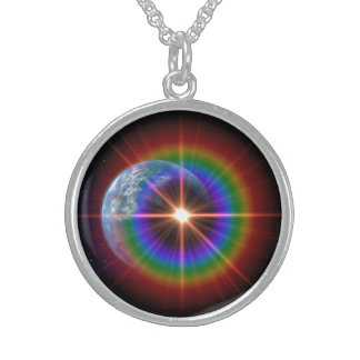 Earth Rainbow Light Burst! Sterling Silver Necklace