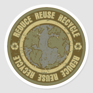 Earth Recycled Grunge Classic Round Sticker
