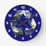 Earth - Recycling Round Clocks