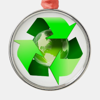 Earth Recycling Symbol Ecology globe Metal Ornament