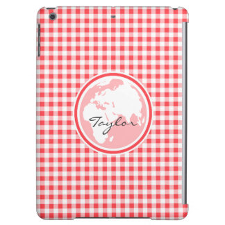 Earth Red and White Gingham Case For iPad Air