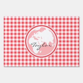 Earth; Red and White Gingham Signs
