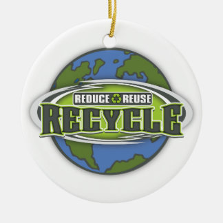 Earth Reduce, Reuse and Recycle Ceramic Ornament