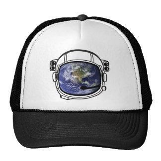 Earth reflected in space helmet trucker hat