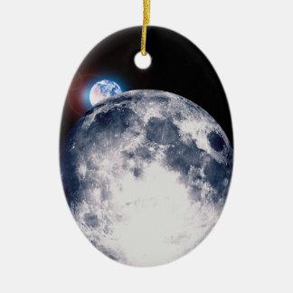 Earth Rise Ceramic Ornament