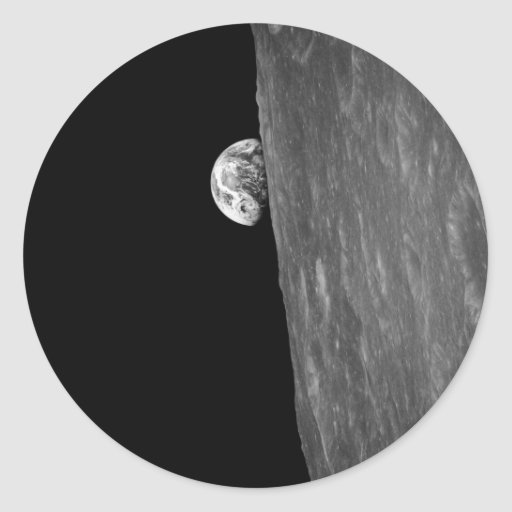 """""""Earth-Rise,"""" First Photo of this from Space Classic Round Sticker"""