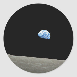 Earth Rises From Moon Classic Round Sticker