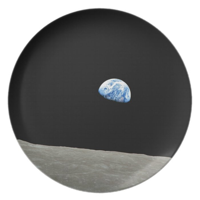 Earth Rises From Moon Plate