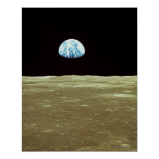 Earth rising over Moon Poster