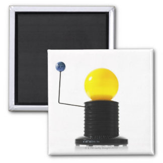 Earth rotating sun model on white background 2 inch square magnet