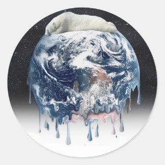 Earth s Bear Hug w Half Universe Background Round Sticker