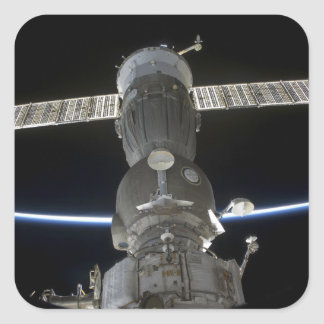 Earth s limb intersects a Soyuz spacecraft Square Sticker