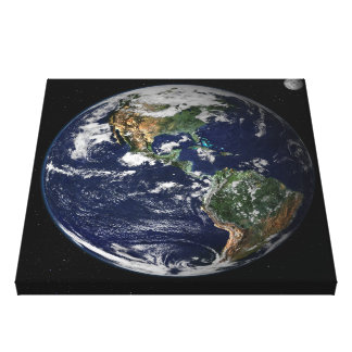 Earth seen from Apollo Mission Stretched Canvas Prints
