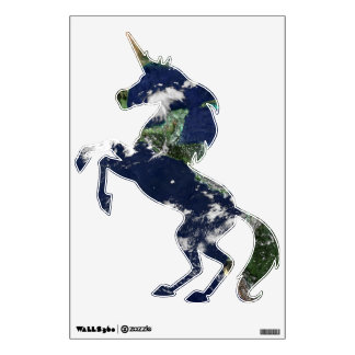 Earth seen from Apollo Mission Holiday Unicorn Wall Decal
