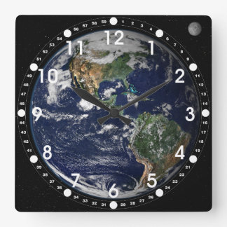 Earth seen from Apollo Mission Wall Clock