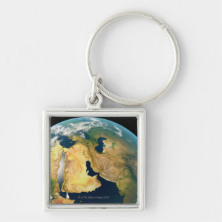Earth Seen from Space Silver-Colored Square Keychain