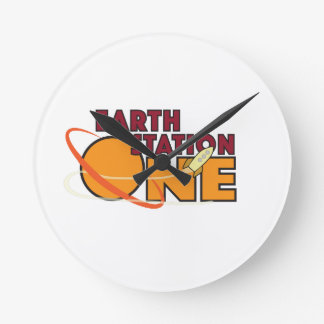 Earth Station One 2015 Logo Round Clock