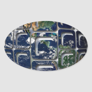 Earth Oval Stickers