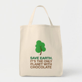 Earth, The Only Planet With Chocolate Grocery Tote Bag